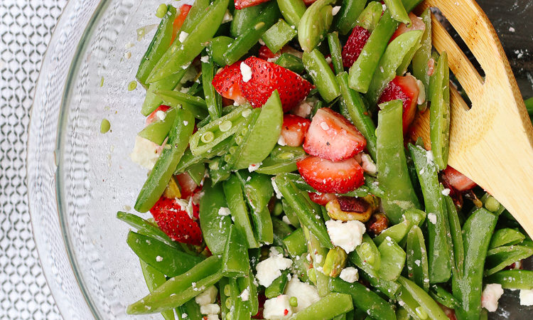 strawberry pistachio sugar snap pea salad