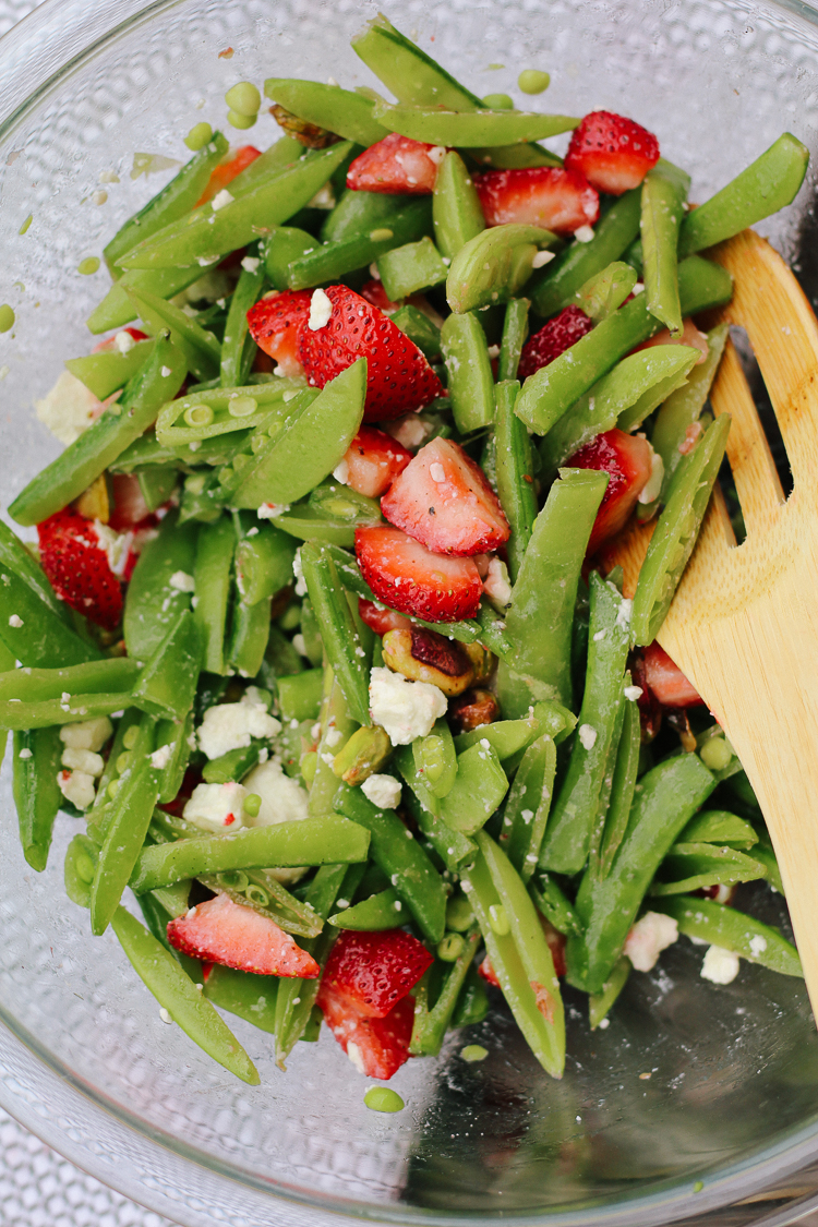 strawberry, pistachio, snap pea salad