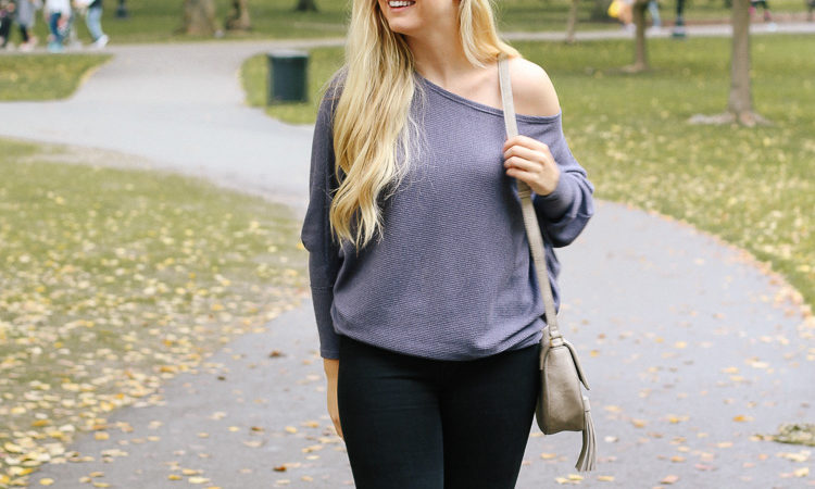 over the knee boots + off shoulder top, fall outfit at boston public garden