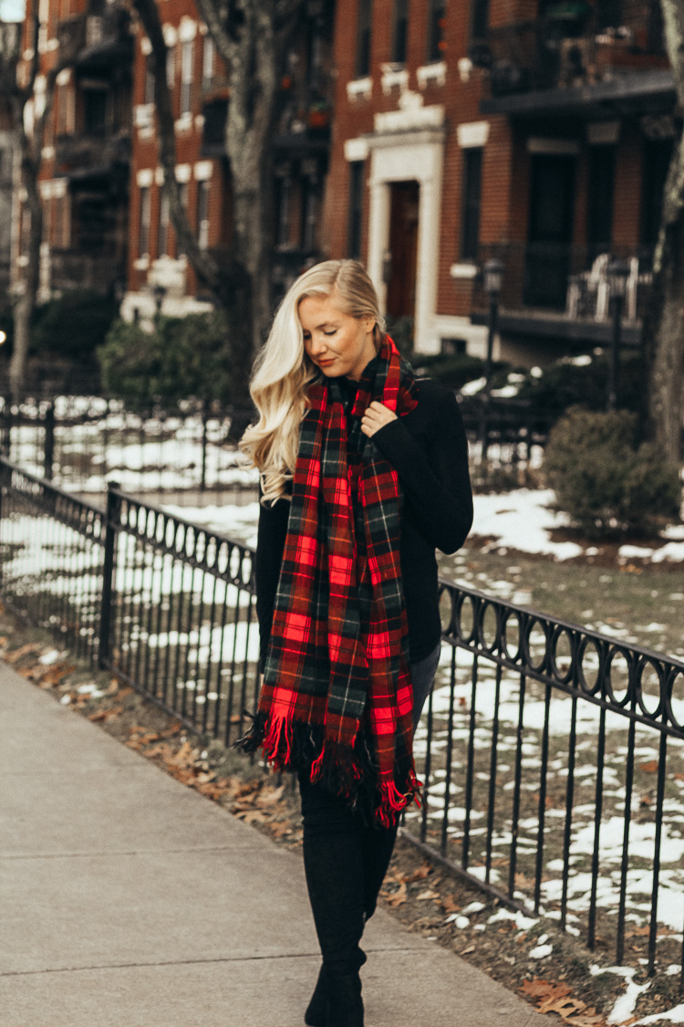 Casual Winter Outfit: Turtleneck + Over the Knee Boots